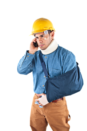 Construction worker injured and on the phone